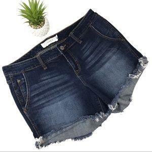 Torrid Dark Wash Raw Hem Skinny Short Shorts Sz 12
